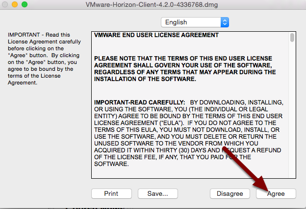 Image of the End User License Agreement screen with an arrow pointing to the Agree button