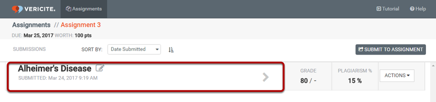 From the assignment submission page, select the submission you want to view.