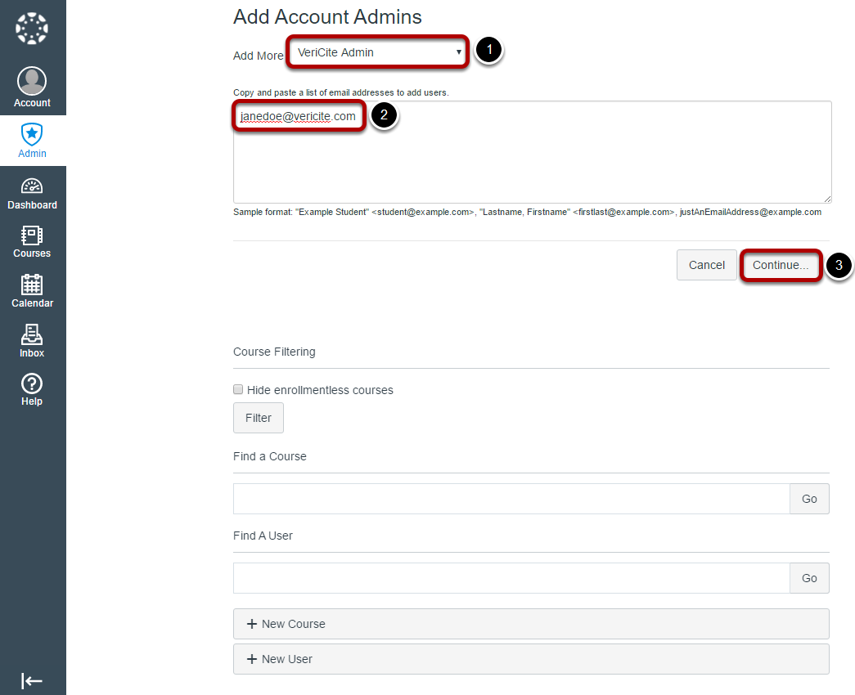 Specify the role and user to be added.