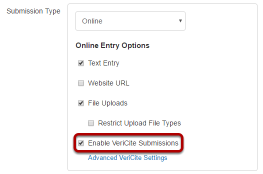 Enable VeriCite for the assignment.