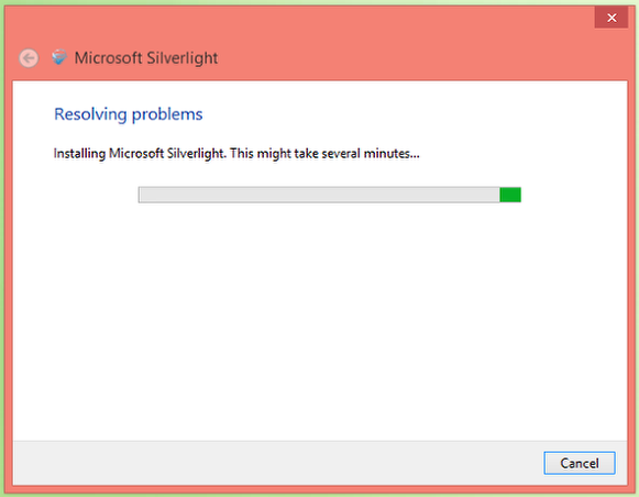 9. Wait for Microsoft Silverlight to install.