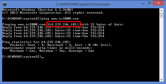 5. Press enter to submit the command and complete the ping. The number listed beside the website address is its IP address.