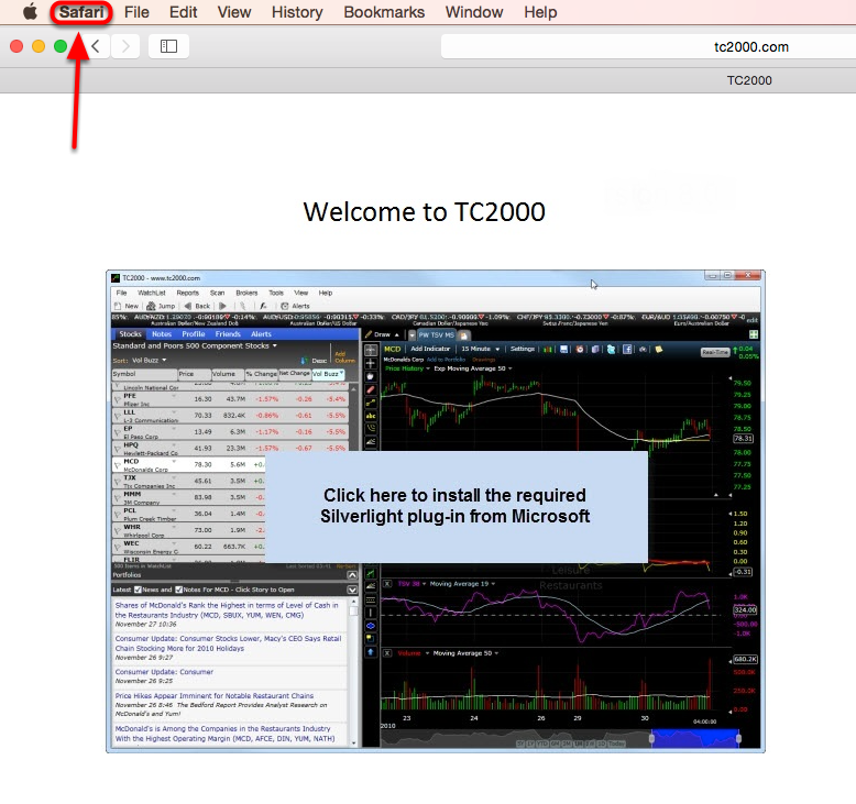 1. Click Safari in the top left corner of your screen.