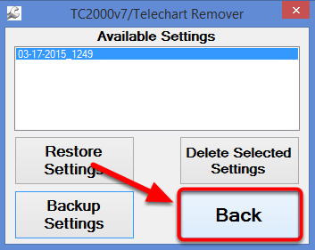 5. Once the backup completes select Back.