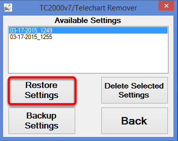 20. Select Restore Settings.