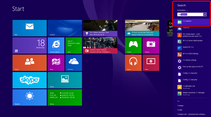 "In Windows 8 type ""File Explorer"" while on the home screen then select it from the search results."