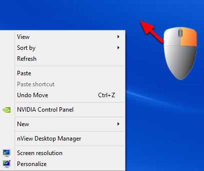8. Right click on your Windows desktop.