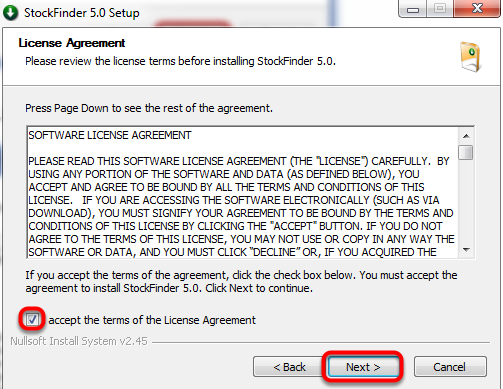 Read and agree to the License Agreement and then click Next.