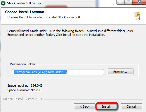 Choose the file path to install to and then click Install.