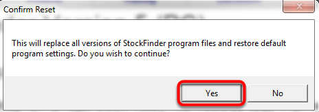 3. Click Yes to Confirm Reset.