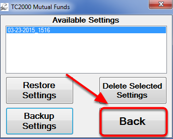 6. Click the Back Button in the Funds-Remover Window.