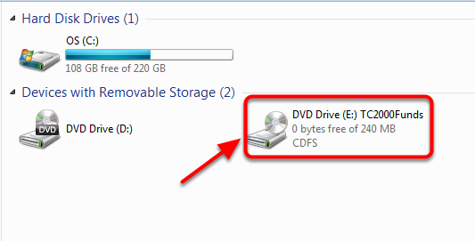 In the Computer window right click on the CD Rom Drive