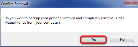 8. Click Yes to confirm removal.