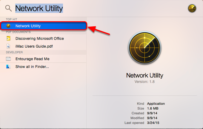 3.  Select Network Utility from the search results.