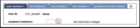 User Defaults 1 tab