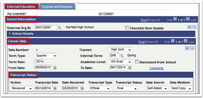 School Information tab