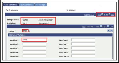Char Variables tab