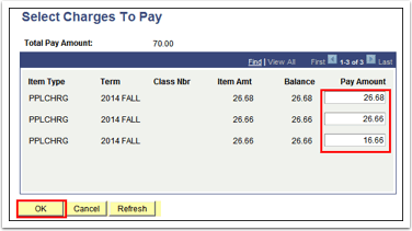 Select Charges To Pay page