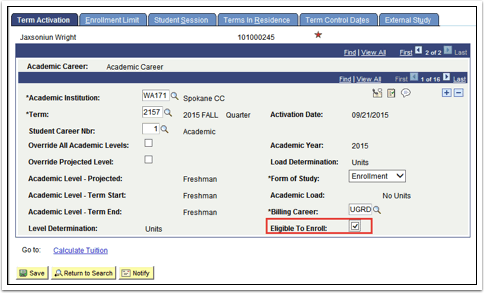 Term Activation tab