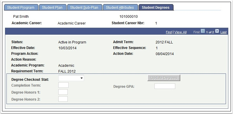Student Degrees tab