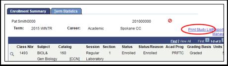 Enrollment Summary tab Print link