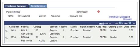 Enrollment Summary tab