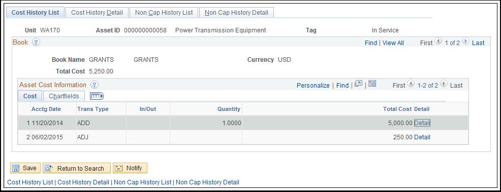 Cost History List