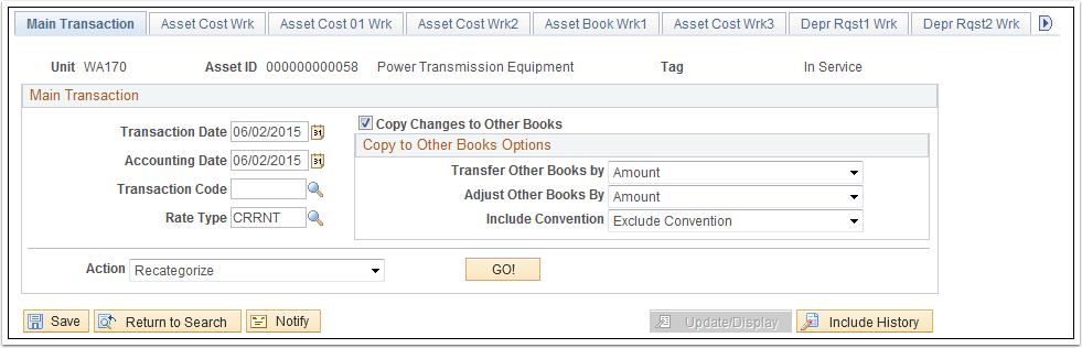 Main Transaction tab
