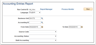 Accounting Entries Report page