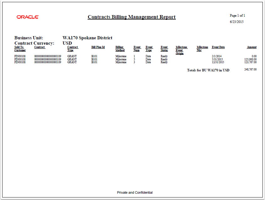 Example Contracts Billing Management Report