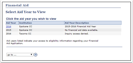 Financial Aid Select Aid Year to View