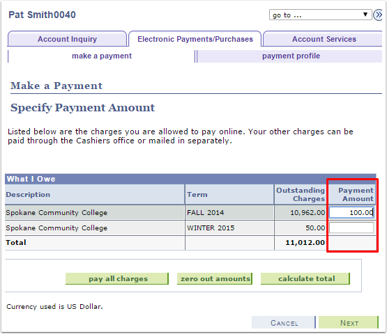 Make a Payment Specify Payment Amount
