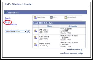 Academics Enroll link