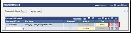 Document Upload plus/minus buttons