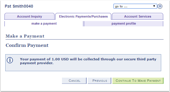 Make a Payment Confirm Payment