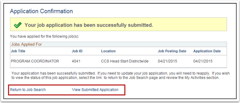 Application Confirmation page
