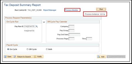 Tax Deposit Summary Report