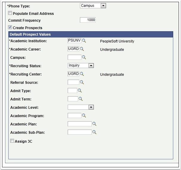 Default Prospect Values section