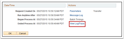 View Log Trace link