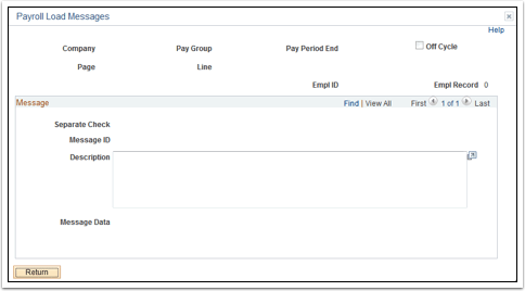 Payroll Load Messages
