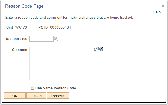 Reason Code Page