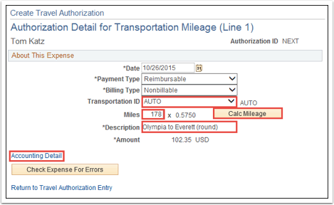 Authorization Detail for Transportation Mileage (Line 1)