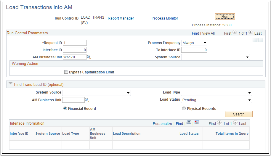 Load Transactions into AM page