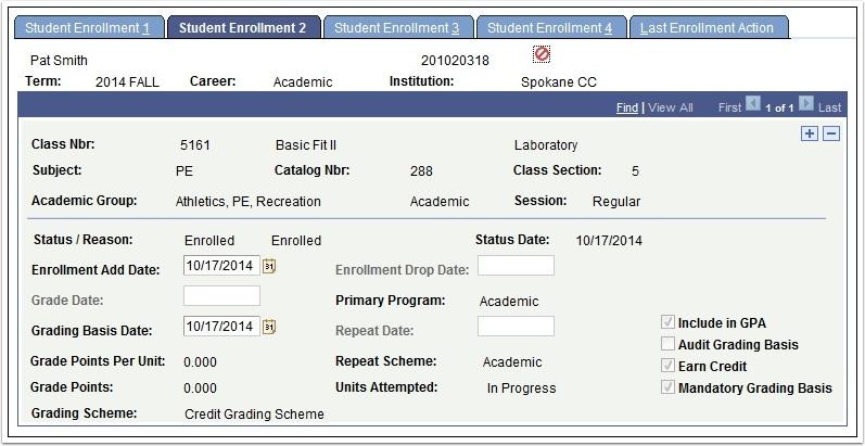 Student Enrollment 2 tab