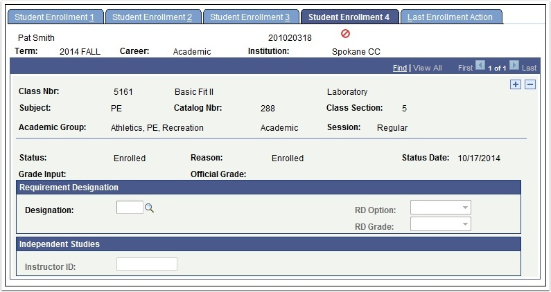Student Enrollment 4 tab