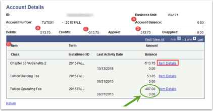 Account Details page
