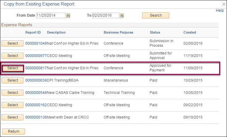 Copy from Existing Expense Report