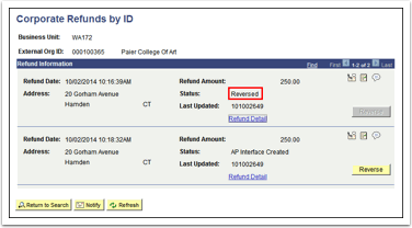 Corporate Refunds by ID