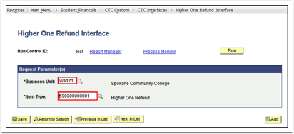 Higher One Refund Interface