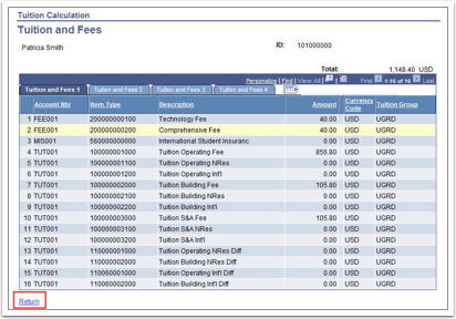 Tuition and Fees page